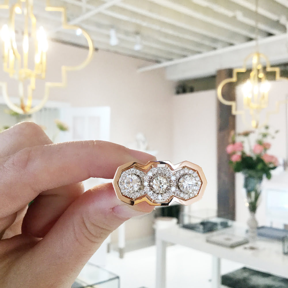 Remake | Redesign: A 3-stone halo ring for a wedding done their way